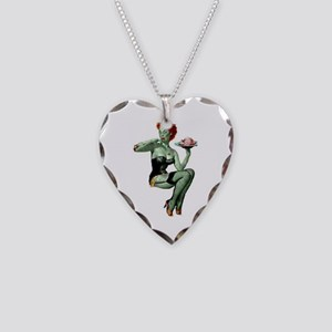 zombie pin-up girl Necklace Heart Charm
