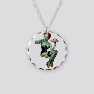 zombie pin-up girl Necklace Circle Charm