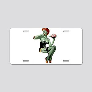 zombie pin-up girl Aluminum License Plate