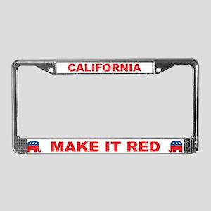 California Make it Red License Plate Frame