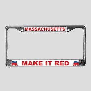 Massachusetts Make it Red License Plate Frame