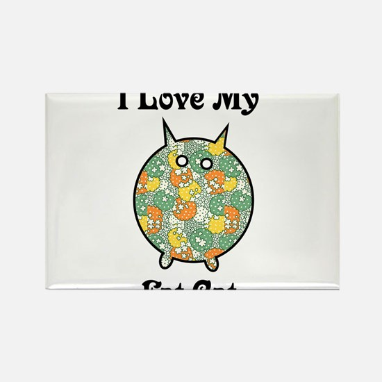 Fat Floral Cat Rectangle Magnet