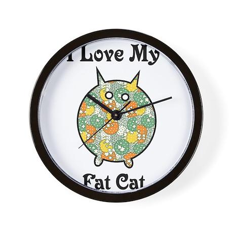 Fat Floral Cat Wall Clock