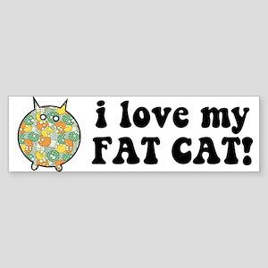 Fat Floral Cat Sticker (Bumper)
