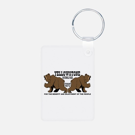 Grizzly Bears YNP Aluminum Photo Keychain