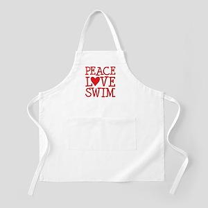 Peace Love Swim - red Apron