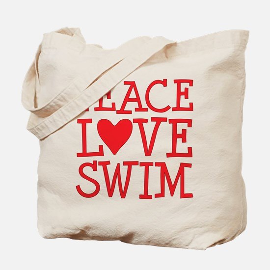 Peace Love Swim - red Tote Bag