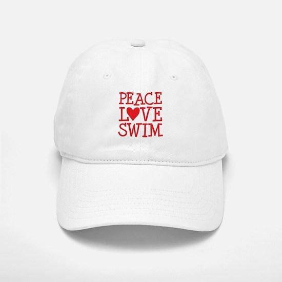 Peace Love Swim - red Baseball Baseball Cap
