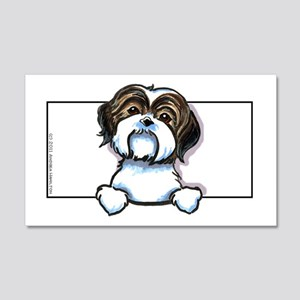 Brown/W Shih Tzu Peeking 20x12 Wall Decal