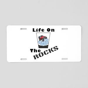On Rocks Glass Aluminum License Plate
