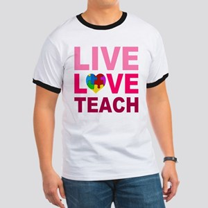 Live Love Teach Autism Ringer T
