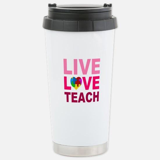 Live Love Teach Autism Stainless Steel Travel Mug