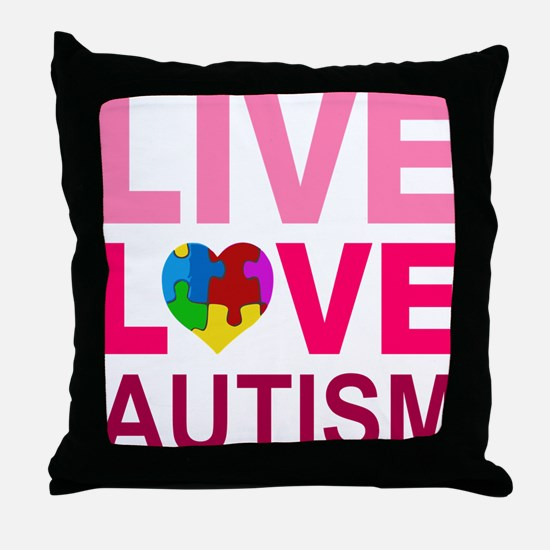 Live Love Autism Throw Pillow