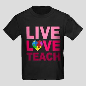 Live Love Teach Autism Kids Dark T-Shirt