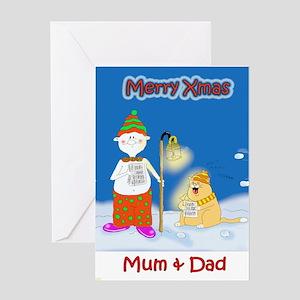 Xmas carol,mum & dad Greeting Card