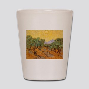 Van Gogh Olive Trees Yellow Sky And Sun Shot Glass