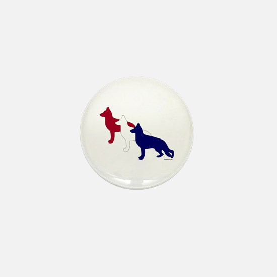 Patriotic German Shepherds Mini Button
