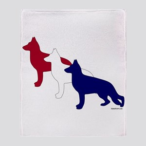 Patriotic German Shepherds Throw Blanket