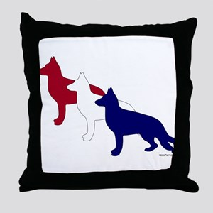 Patriotic German Shepherds Throw Pillow