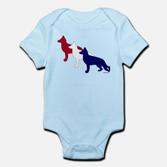 Patriotic German Shepherds Infant Bodysuit