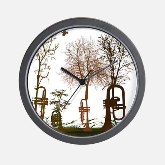 Trumpets as Trees Wall Clock