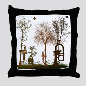 Trumpets as Trees Throw Pillow