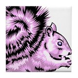 Purple squirrel Tile Coasters