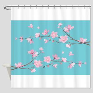 Cherry Blossom - Robin Egg Blue Shower Curtain