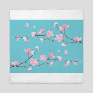 Cherry Blossom - Robin Egg Blue Queen Duvet