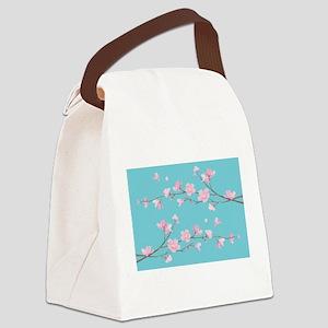 Cherry Blossom - Robin Egg Blue Canvas Lunch Bag