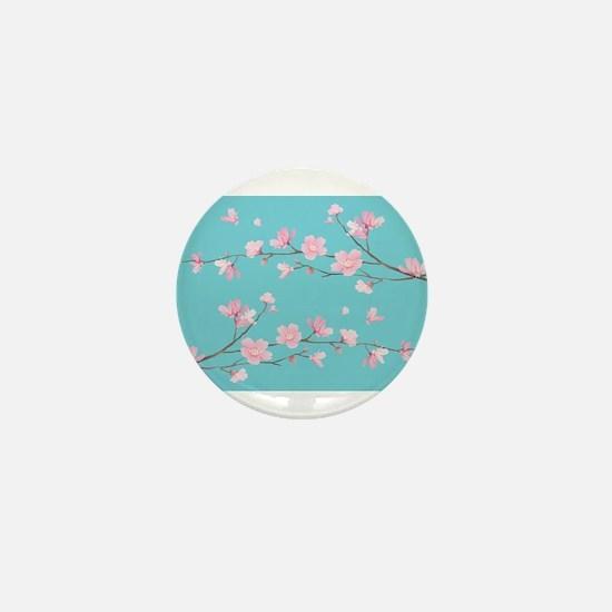 Cherry Blossom - Robin Egg Blue Mini Button