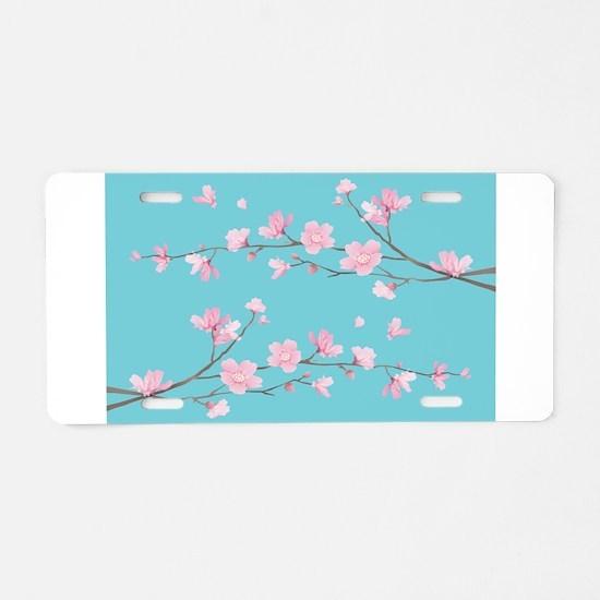 Cherry Blossom - Robin Egg Aluminum License Plate