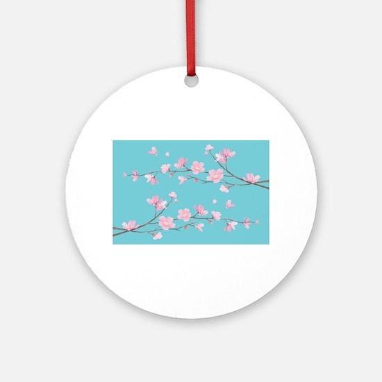 Cherry Blossom - Robin Egg Blue Round Ornament