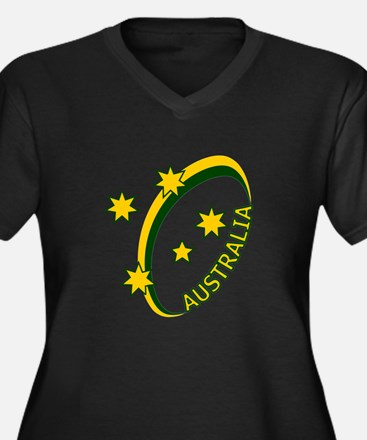 Aussie rugby cross 1 Women's Plus Size V-Neck Dark
