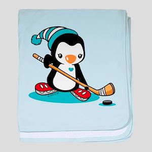 Ice Hockey Penguin baby blanket