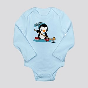 Ice Hockey Penguin Long Sleeve Infant Bodysuit