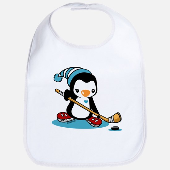 Ice Hockey Penguin Cotton Baby Bib