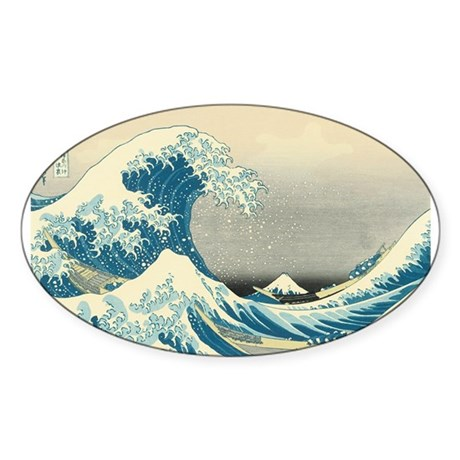 Hokusai Great Wave Sticker (Oval)