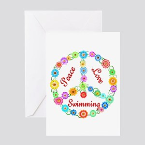 Swimming Peace Sign Greeting Card