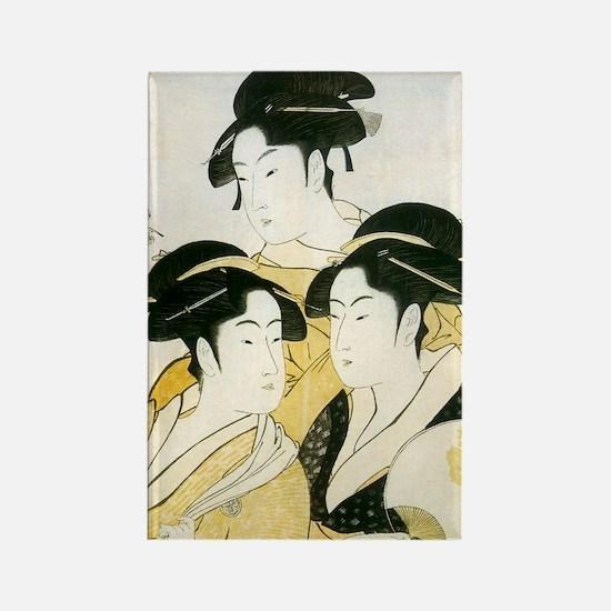 Utamaro Three Women Rectangle Magnet