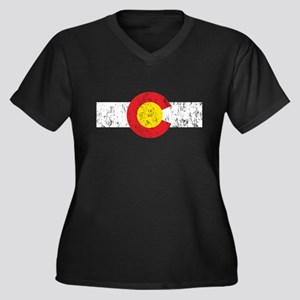 Colorado Vintage Women's Plus Size V-Neck Dark T-S