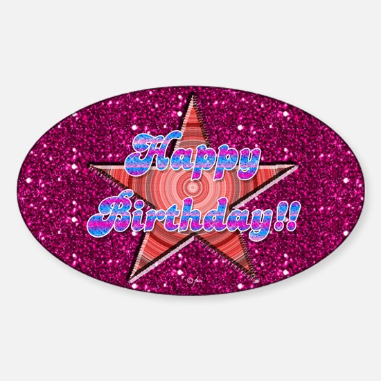 Happy Birthday Superstar Sparkle Oval Decal