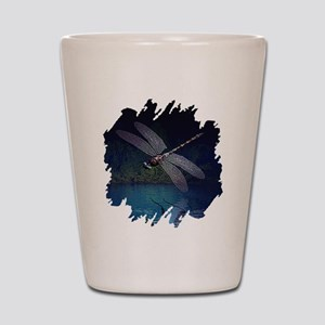 Dragonfly at Night Shot Glass