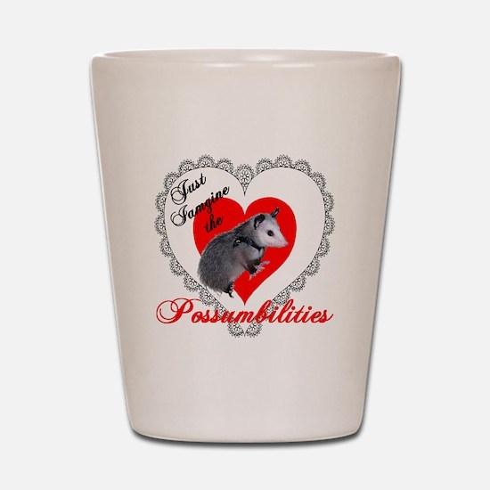 Possum Valentines Day Heart Shot Glass