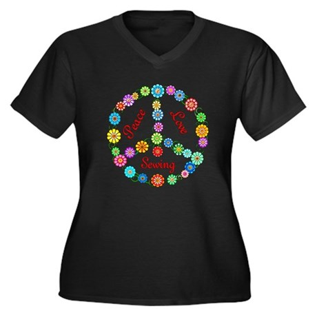 Sewing Peace Sign Women's Plus Size V-Neck Dark T-