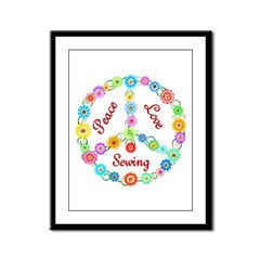 Sewing Peace Sign Framed Panel Print