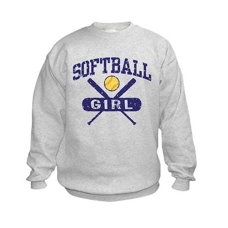 Softball Girl Kids Sweatshirt