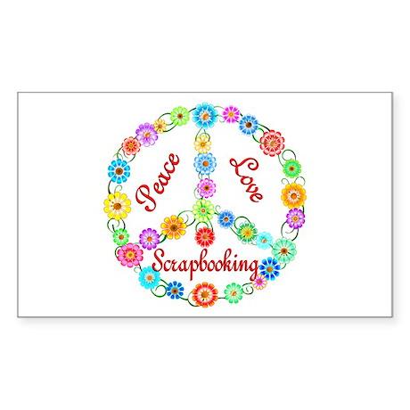 Scrapbooking Peace Sign Sticker (Rectangle)
