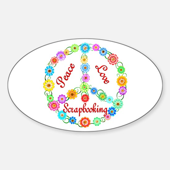 Scrapbooking Peace Sign Sticker (Oval)