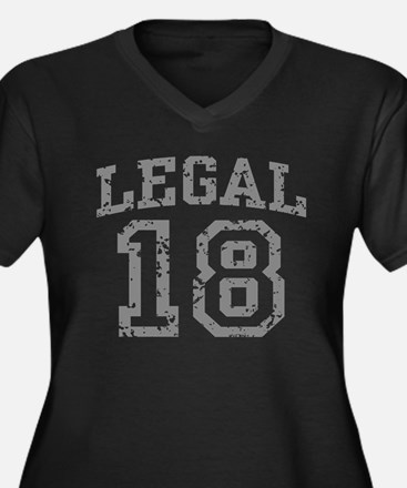 Legal 18 Women's Plus Size V-Neck Dark T-Shirt